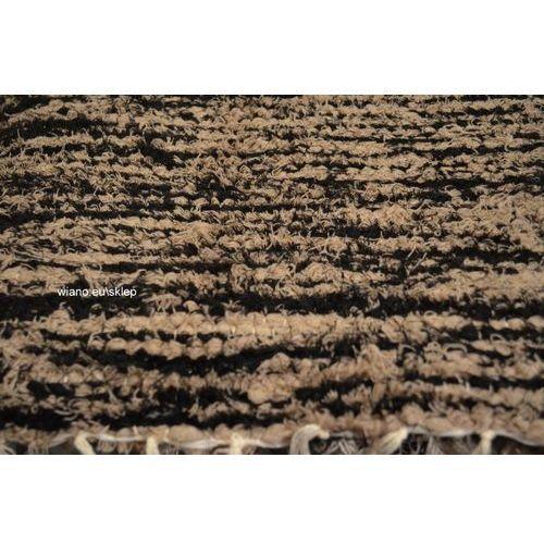 Chodnik bawełniany, ręcznie tkany, czarno-beżowy 80x120 marki Twórczyni ludowa