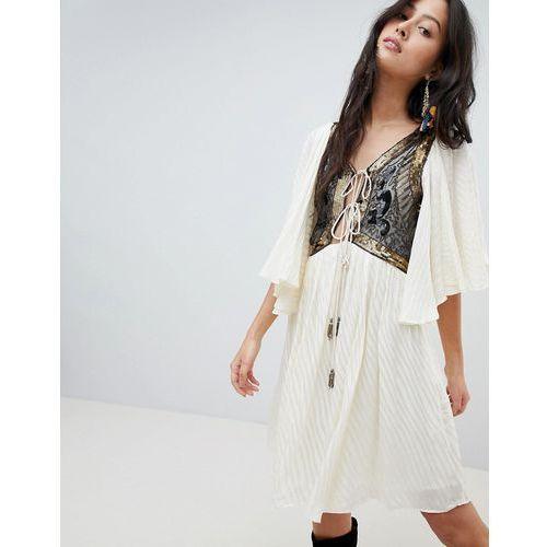 Free people moonglow embellished mini dress - white