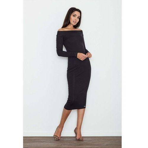 Figl Czarna ołówkowa sukienka za kolano z szerokim dekoltem