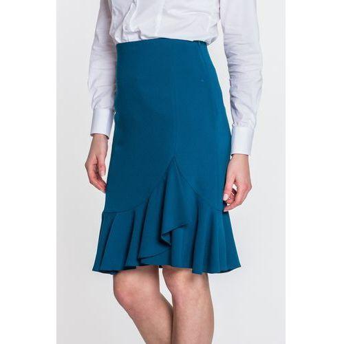 Spódnica z falbaną w kolorze morskim - L'ame de Femme