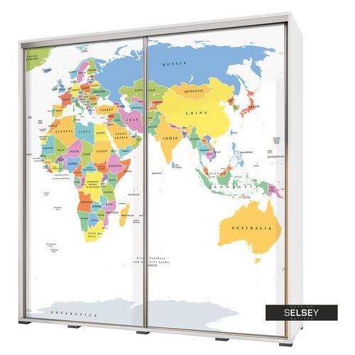 Selsey szafa wenecja 205 cm mapa świata na białym tle (5900000071985)