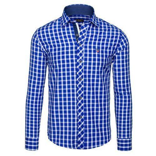 Chabrowa koszula męska elegancka w kratę z długim rękawem Bolf 4747 - CHABROWY, kolor niebieski