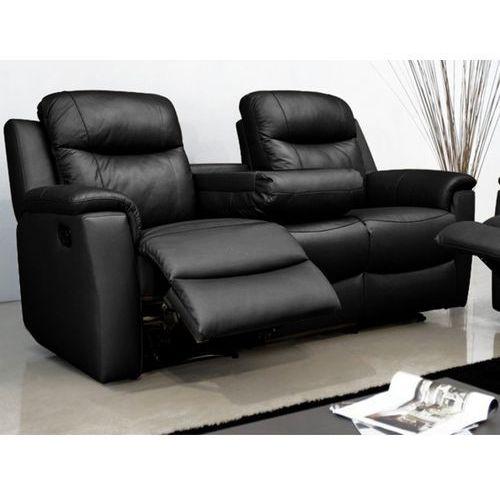 Skórzana sofa 3-osobowa evasion z funkcją relaks - czarny marki Vente-unique