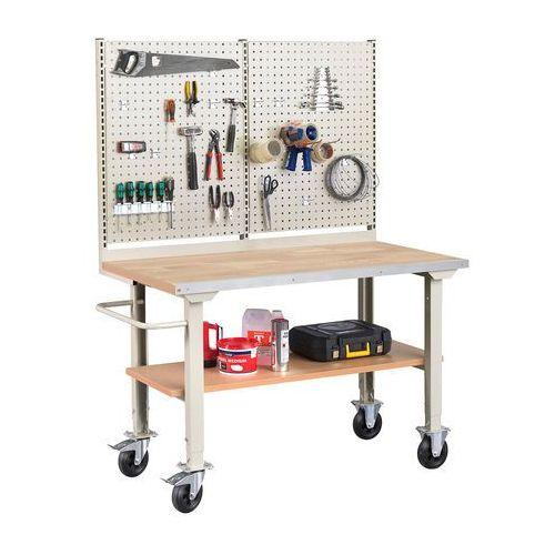 Mobilny stół roboczy SOLID 400, 1500x800 mm, dąb