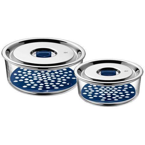 WMF Top Serve okrągły zestaw puszki na zapasy ze szkła, z zamkiem Feeding misy i szczelną pokrywą z zaworem świeżości wielofunkcyjna do przygotowywania, przechowywania i podawania, 2-częściowy (4000530659934)