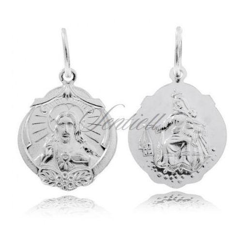 Srebrny medalik Jezus / Matka Boska Szkaplerzna - M047, M047