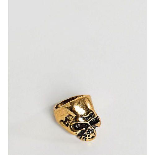 Designb london Designb skull ring in antique gold exclusive to asos - gold