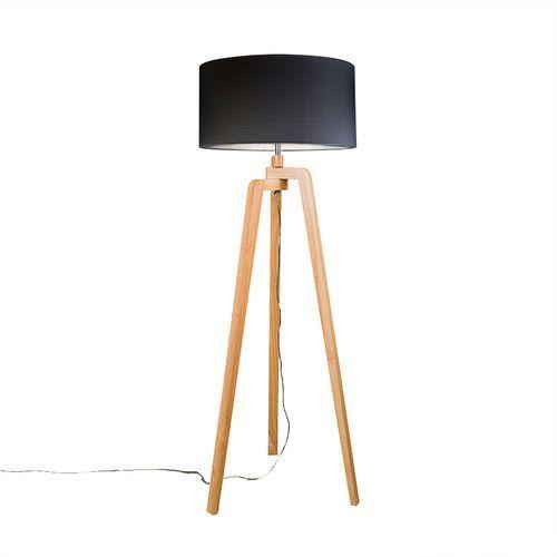 Lampa podlogowa Puros drewno z czarnym kloszem 50cm z kategorii lampy stojące