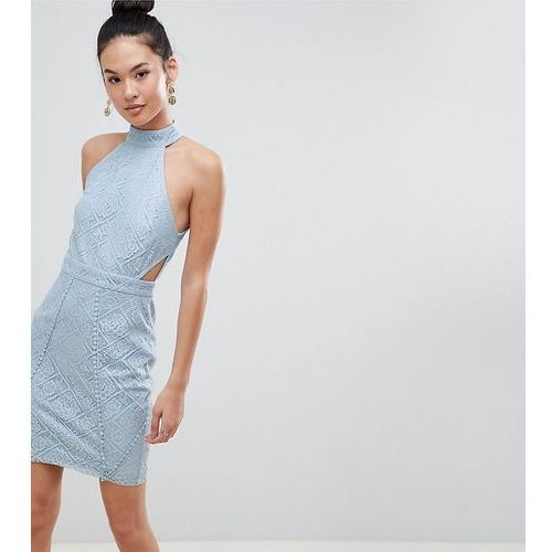 Boohoo High Neck Lace Cut Out Bodycon Dress - Blue