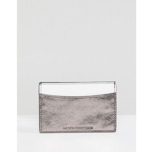 French Connection Metaiilc Card Holder - Silver, kolor szary