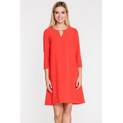 Czerwona sukienka z wydłużonym tyłem - Bialcon, kolor czerwony