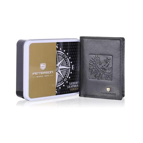 b244de9b6eec5 Peterson Pojemny portfel skórzany męski z orłem 342.02 rfid