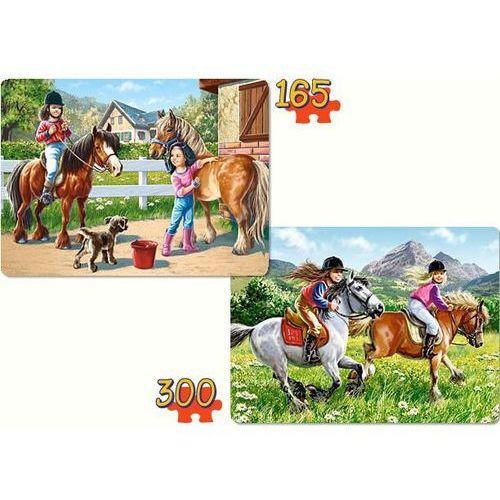 Puzzle 165 i 300 elementów. 2 duże układanki 1 pudełku. jazda konna marki Castorland