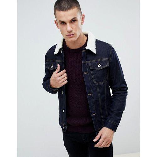 denim jacket with borg collar in dark blue wash - blue, Burton menswear