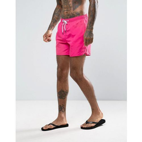 swim shorts with waistband in bright pink - pink marki New look