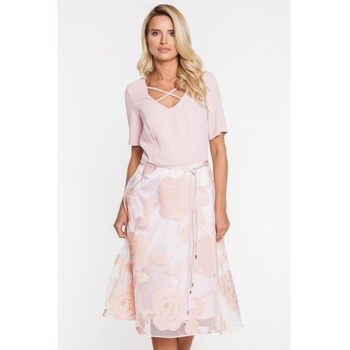 Margo collection Różowa sukienka z rozkloszowanym, szyfonowym dołem -