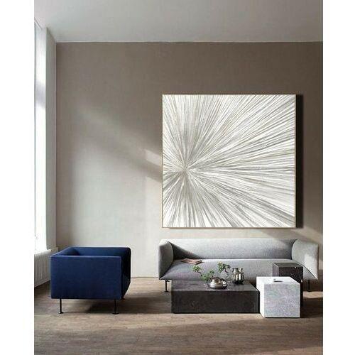 Biało szara iluzja - obraz na płótnie