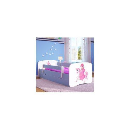 Łóżko dziecięce z materacem KSIĘŻNICZKA na KONIKU, biało-niebieskie