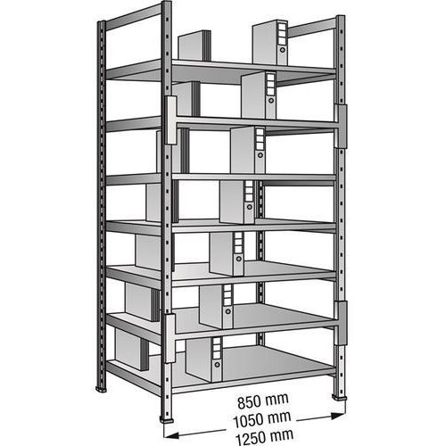 Regał wtykowy na segregatory i archiwum, ocynkowany, wys. 2640 mm, dwustronne, s