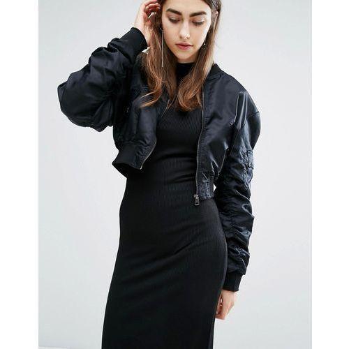 crop bomber jacket - black wyprodukowany przez Cheap monday
