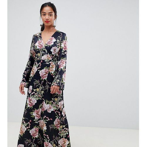 Asos petite Asos design petite satin wrap maxi dress in navy floral print - multi