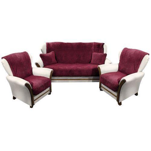 narzuty na kanapę i fotele baranek winowy, 150 x 200 cm, 2 szt. 65 x 150 cm, marki 4home