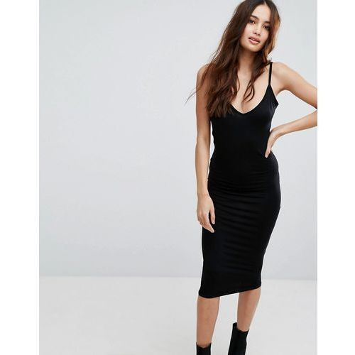 v neck cami midi dress - black marki Boohoo