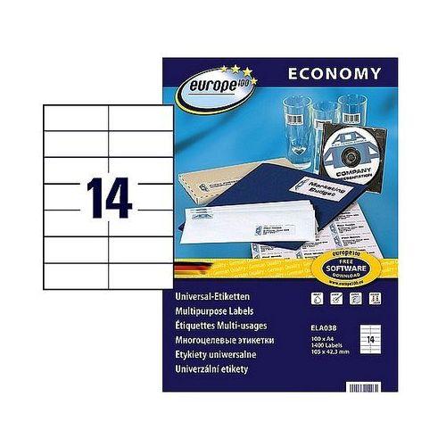 Avery zweckform Etykiety samoprzylepne economy 105x42,3mm białe, 100ark. a4, ela038