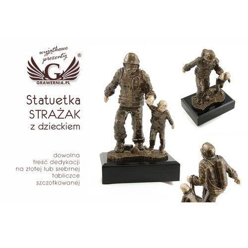Statuetka strażak z dzieckiem - atrakcyjna figurka odlewana - wysokość 19,5 cm marki Grawernia.pl - grawerowanie i wycinanie laserem