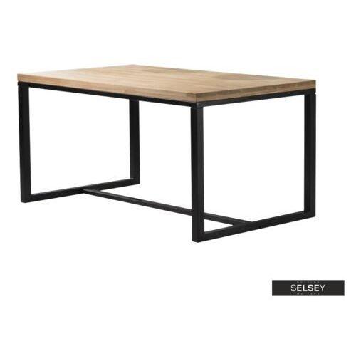 Selsey stół pazmer 180x90 cm z litego drewna z czarną podstawą z poziomym wzmocnieniem