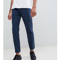 tall elastic waist cropped chino trousers - navy, D-struct