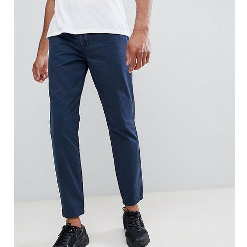 D-struct tall elastic waist cropped chino trousers - navy