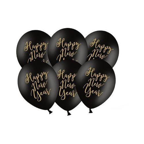 BALON HAPPY NEW YEAR CZARNY 30cm 1szt, #A290^wg