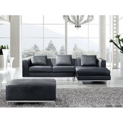 Beliani Nowoczesna sofa z pufą ze skóry naturalnej kolor czarny l - kanapa oslo (7081459369712)