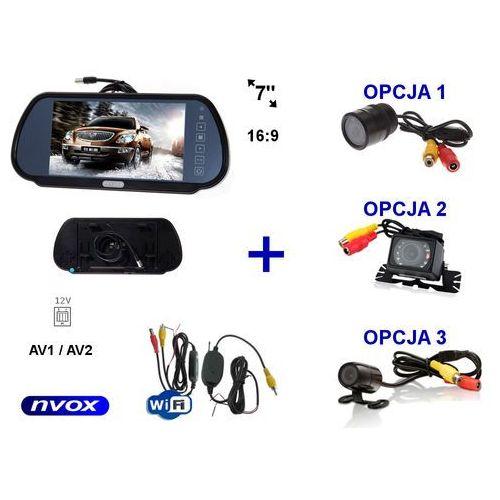 """Zestaw Monitor LCD 7"""" w lusterku wstecznym 12V 24V Samochodowa kamera cofania i Bezprzewodowy moduł WiFi"""