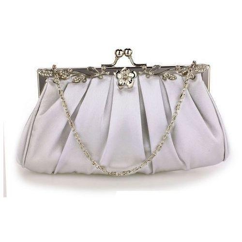 Wielka brytania Delikatna satynowa torebka wieczorowa srebrna - srebrny