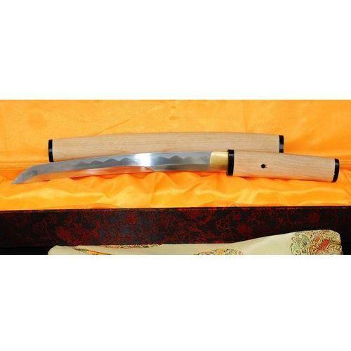 Sztylet samurajski tanto, stal wysokowęglowa 1095, saya z drewna białego r363 marki Kuźnia mieczy samurajskich