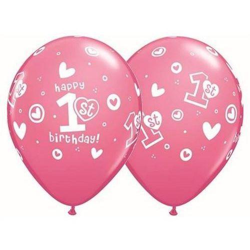 Balony z nadrukiem 1st happy birthday różowe - 30 cm - 5 szt. marki Qlx
