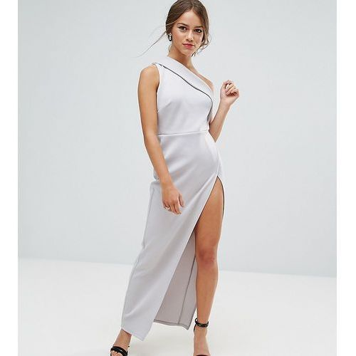 ASOS PETITE One Shoulder Maxi Dress with Exposed Zip - Grey, kolor szary