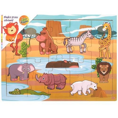 BRIMAREX Puzzle drewnian eZwierzęta Afryki - Brimarex OD 24,99zł DARMOWA DOSTAWA KIOSK RUCHU (5907791567598)