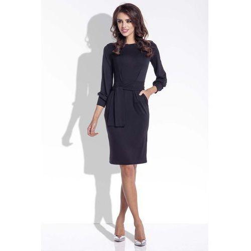 Czarna Sukienka Ołówkowa z Wiązanym Paskiem