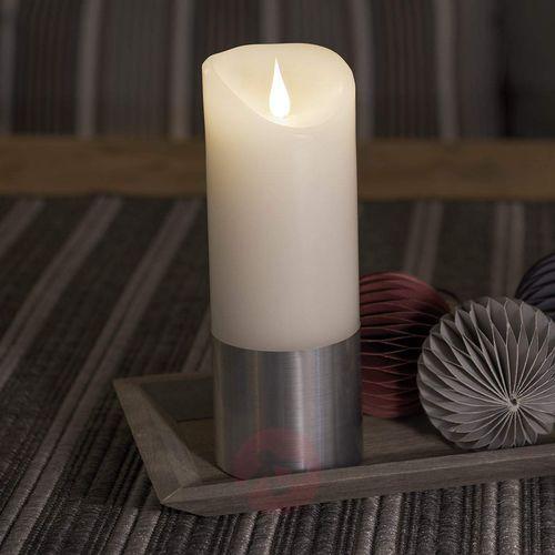 Świeca woskowa led z banderolą, srebrna, 20,5 cm marki Konstsmide christmas