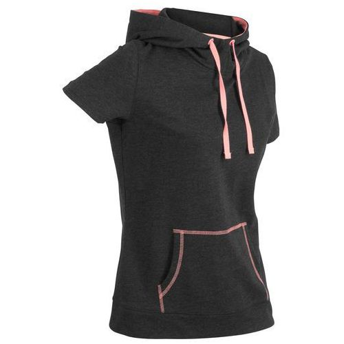 Bonprix Bluza z krótkim rękawem czarno-łososiowy neonowy