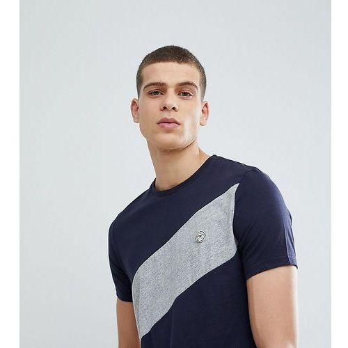 tall diagonal panel t-shirt - navy marki Le breve