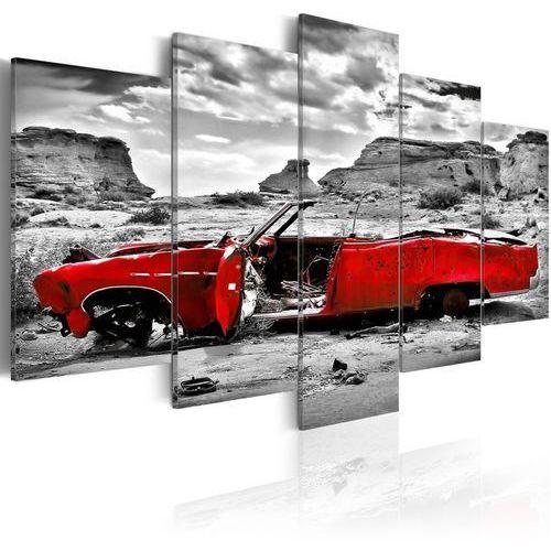 Obraz - Czerwony samochód w stylu retro na Pustyni Kolorado - 5 części z kategorii Fototapety
