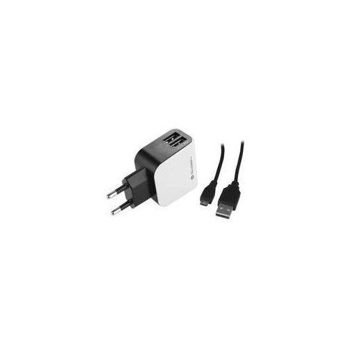 Ładowarka do sieci ach 201 c, 2x usb + microusb kabel 1,2m (gogach201c) czarna/biała marki Gogen