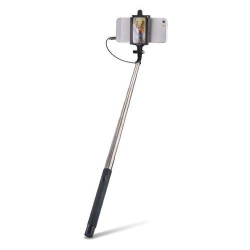Teleskopowy monopod z uchwytem i kablem audio Forever MP-410 do autoportretów z lusterkiem czarny (5900495407375)