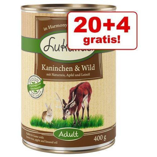 20 + 4 gratis! natural, 24 x 400 g - dziki królik i indyk marki Lukullus