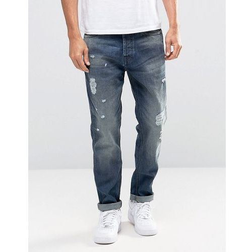 Jack & Jones Intelligence Light Blue washed Jeans in Anti Fit with Rip Repair Detail - Black