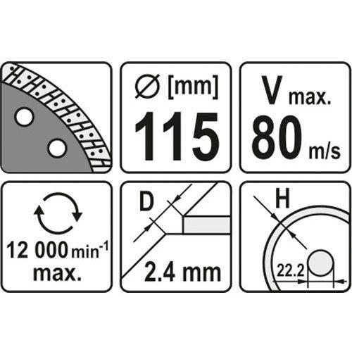 Yato Tarcza diamentowa, segment turbo 115 mm yt-6022 - zyskaj rabat 30 zł (5906083960222)